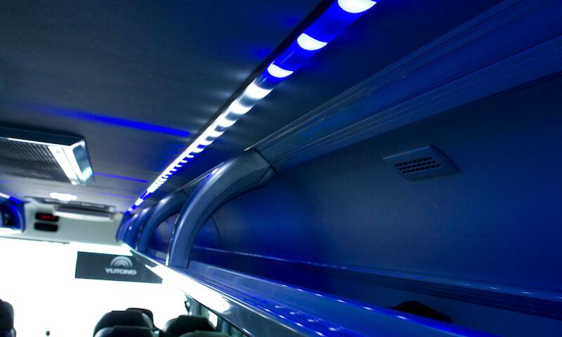 mood lighting on luxury coach